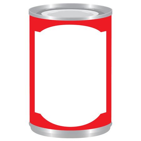 tincan: red label aluminium tincan cylinder realistic isolated raster illustration