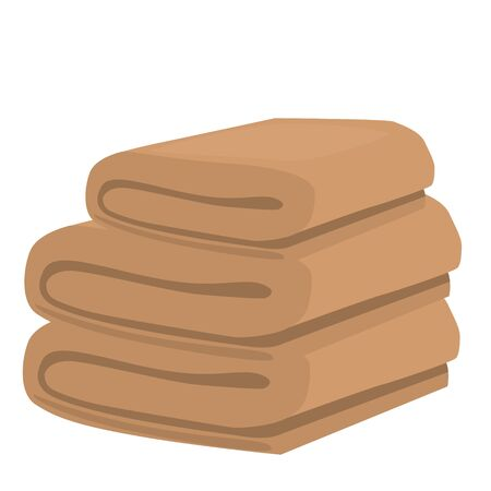 absorb: stack of beige domestic bath beach towels isolated raster illustration