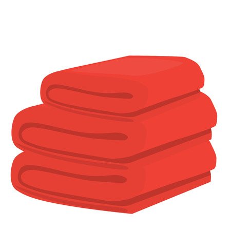 stack of red domestic bath beach towels isolated raster illustration