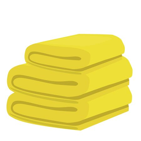 stack of yellow domestic bath beach towels isolated raster illustration Stock Photo