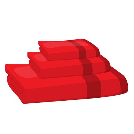 towels: stack of red domestic bath beach towels isolated raster illustration