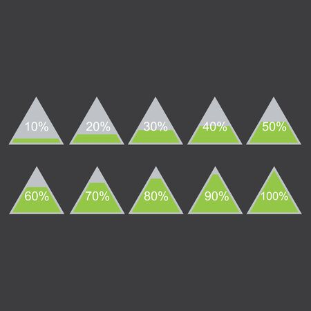 Piramide triangle percentage chart diagram of growth green. 10, 20, 30, 40, 50, 60, 70, 80, 90, 100 %. Raster illustration Stock Photo
