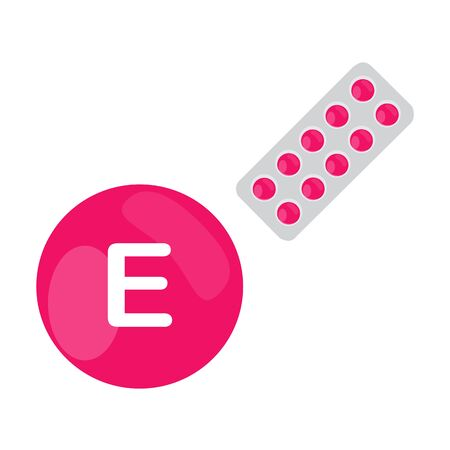 vitamin e: Vitamin E with blister of pills tablets capsules. Pink circle. Isolated icon. raster illustration