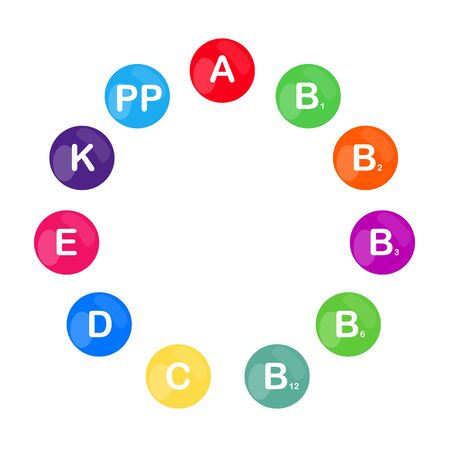raster colorful set of the rainbow colored bubble vitamins for your infographic. Circle. raster illustration