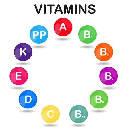 ascorbic: raster colorful set of the rainbow colored bubble vitamins for your infographic. Circle. raster illustration