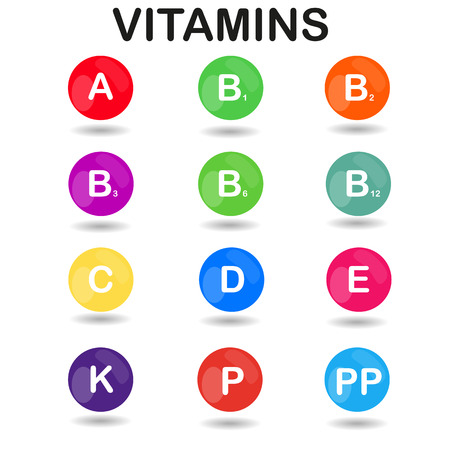 ascorbic acid: raster colorful set of the rainbow colored bubble vitamins for your infographic. Square. raster illustration Stock Photo