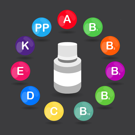 ascorbic acid: raster colorful set of the rainbow colored bubble vitamins for your infographic. Circle with jar of pills. raster illustration Stock Photo