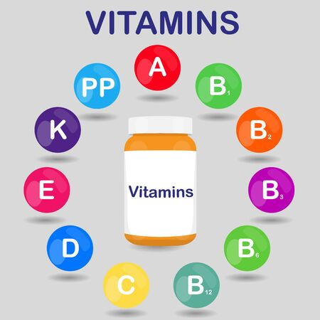 basic care: raster colorful set of the rainbow colored bubble vitamins for your infographic. Circle with bottle or jar of pills. raster illustration