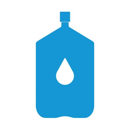 Plastic bottle silhouette with water. Big office bottle of water for cooler. With drop. Raster illustration