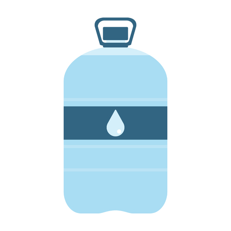 purified: Plastic bottle with water. Big bottle of water. With drop on label. Raster illustration Stock Photo