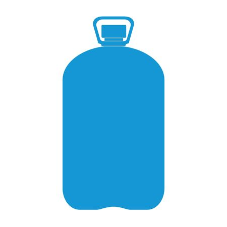 Blue Plastic bottle silhouette with water. Big bottle of water. Raster illustration Stock Photo