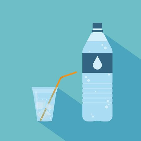 plastic straw: Plastic bottle of pure water with label and drop on it. Plastic cup of water with ice cubes and orange straw. Set. Raster illustration