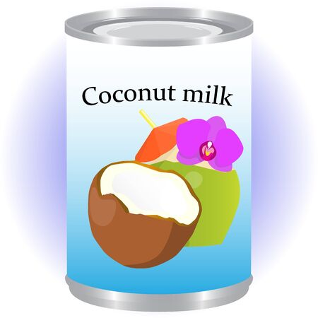tincan: Canned coconut milk isolated raster illustration