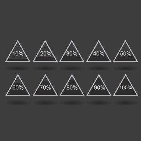 Piramide triangle percentage chart diagram of growth black. 10, 20, 30, 40, 50, 60, 70, 80, 90, 100 %. Raster illustration Stock Photo