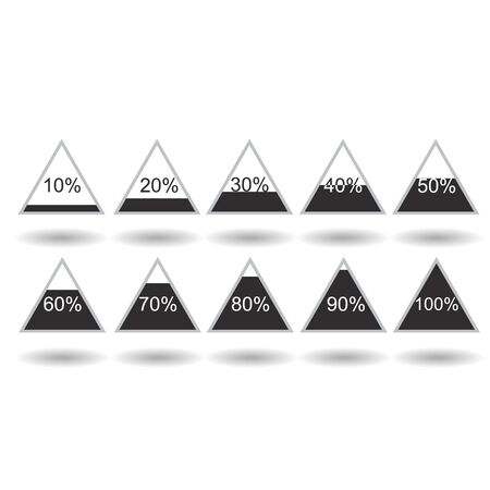Piramide triangle percentage chart diagram of growth black. 10, 20, 30, 40, 50, 60, 70, 80, 90, 100 %. Raster illustration Stock Photo