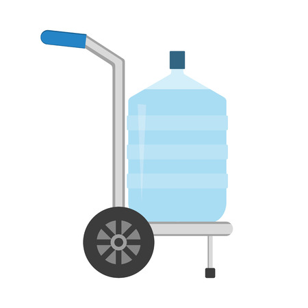 Hand truck with big plastic bottle for office water cooler. Delivery concept. Raster illustration