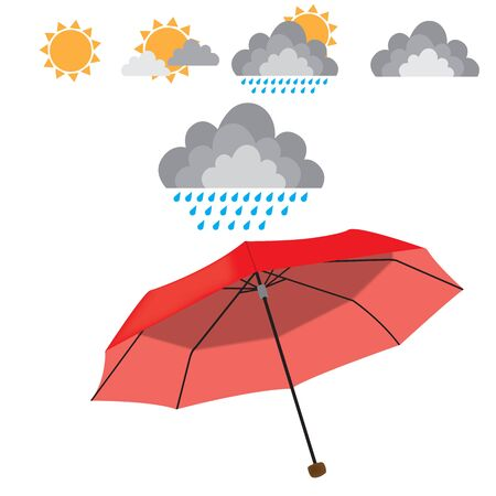 ellements: Red opened umbrella isolated on white background with weather ellements. Rain, sun, cloud, couds. raster illustration