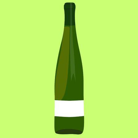 unopened: wine bottle green raster illustration