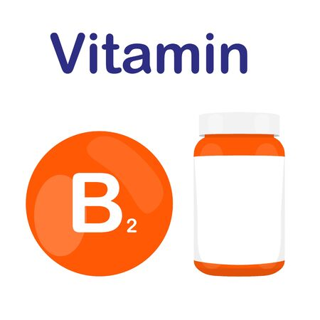 Vitamin B2 B 2 with bottle of pills tablets capsules. Red circle. Isolated icon. raster illustration
