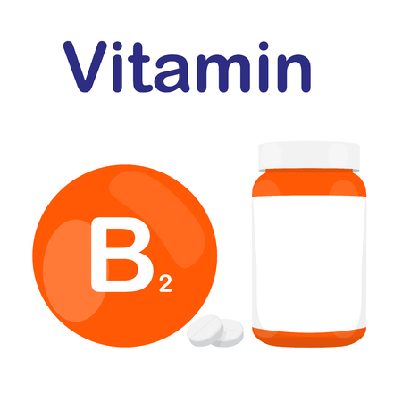 Vitamin B2 B 2 with bottle of tablets, capsules and pills. Orange circle bubble. Isolated icon. Raster illustration