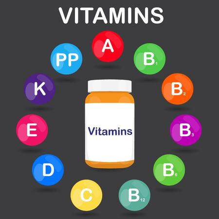 colored bottle: raster colorful set of the rainbow colored bubble vitamins for your infographic. Circle with bottle or jar of pills. raster illustration