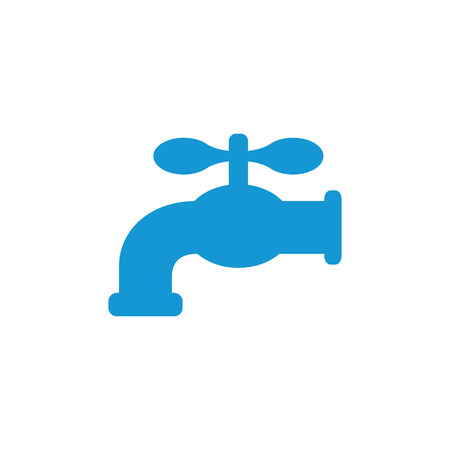 Retro Water Faucet icon. Blue silhouette. Raster illustration. Stock Photo