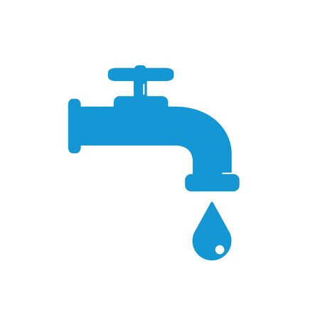 leak: Water Faucet with drop icon. Blue silhouette. Raster illustration.