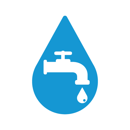 Retro Water Faucet in water drop icon. Blue silhouette. Raster illustration.