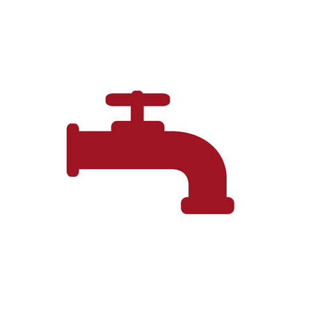 Modern Water Faucet icon. Red silhouette. Raster illustration.