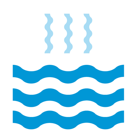 Abstract waves of water and evaporation flat icon. Blue. Raster illustration Stock Photo