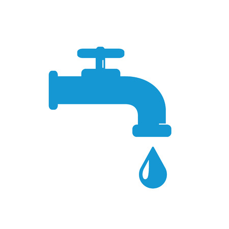 trickle: Water Faucet with drop icon. Blue silhouette. Raster illustration.