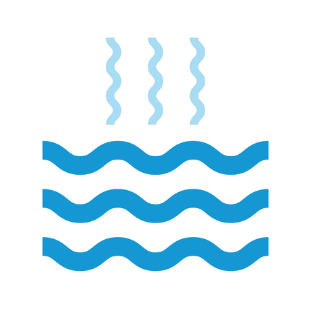 evaporacion: Abstract waves of water and evaporation flat icon. Blue. Raster illustration Foto de archivo