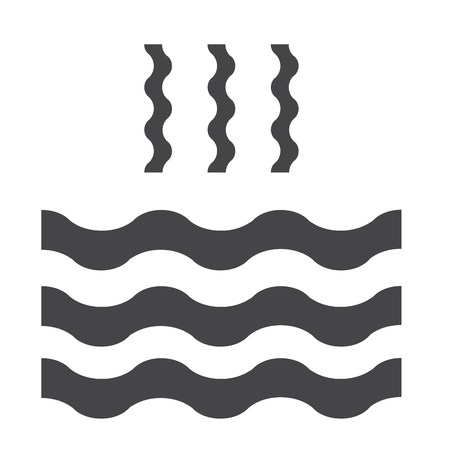 evaporacion: Abstract waves of water and evaporation flat icon. Black. Raster illustration Foto de archivo