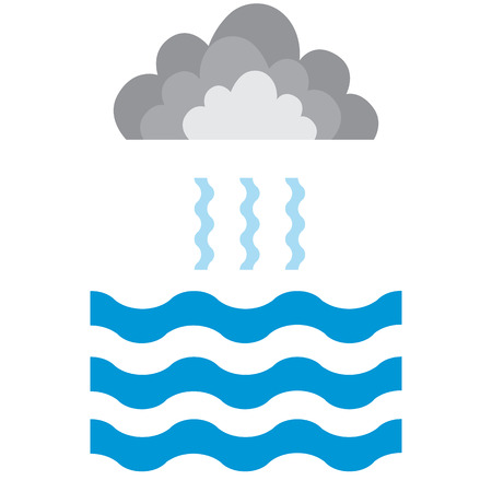 Abstract waves of water and evaporation with cloud flat icon. Blue. Raster illustration
