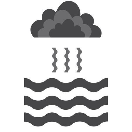evaporacion: Abstract waves of water and evaporation with cloud flat icon. Black . Raster illustration