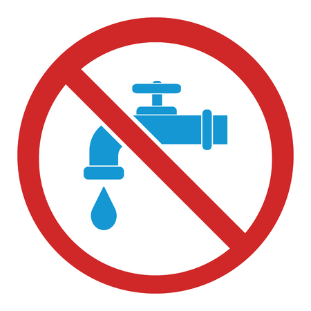 Not drinking water. No water sign. Raster illustration Stock Photo
