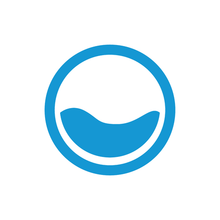 flooding: Water waves. Sea flowing sign. Water symbol. Blue. Raster illustration.