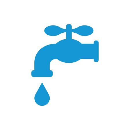 Retro Water Faucet with drop icon. Blue silhouette. Raster illustration.