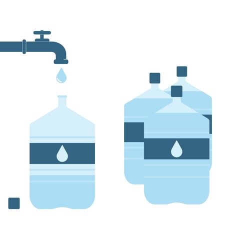 water bottles: Pouring water from tap faucet into office plastic bottle. Bottle supply with water. Set of plastic bottles. Raster illustration Stock Photo