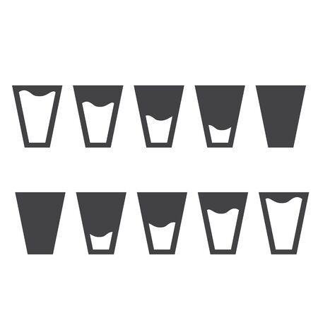 filling: Filling black glasses of water set. Flai icons set. Raster illustration