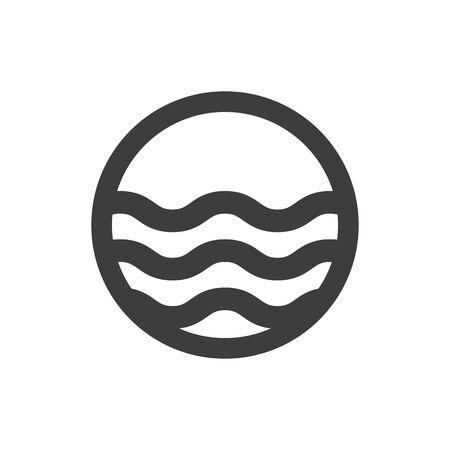 sea water: Water waves. Sea flowing sign. Water symbol. Black. Raster illustration.