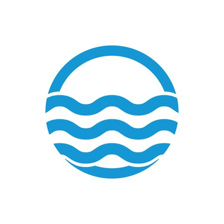sea water: Water wave. Sea flowing sign. Water symbol. Blue. Raster illustration. Stock Photo