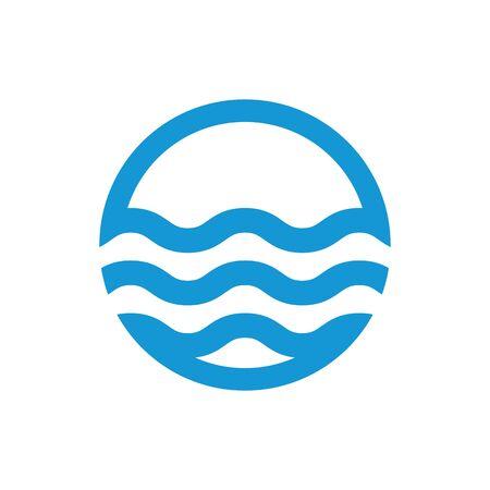 sea water: Water waves. Sea flowing sign. Water symbol. Blue. Raster illustration.