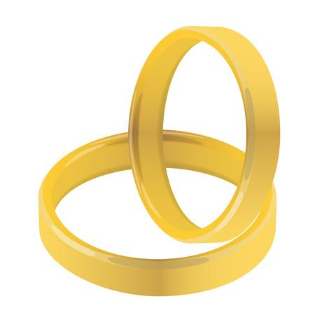 pair of golden wedding rings raster illustration