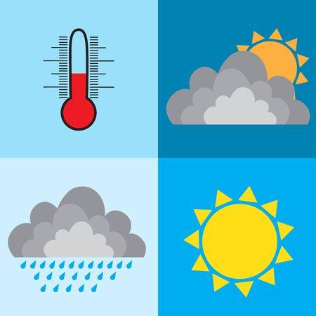 weather design sun rain cloud thermometer raster illustration