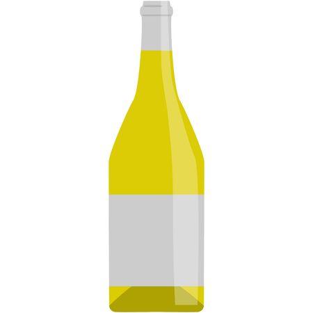 wine bottle yellow raster illustration