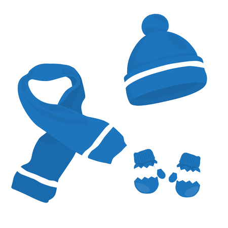 Blue knitted scarf, hat and mittens on white. Winter clothes set. Raster illustration.