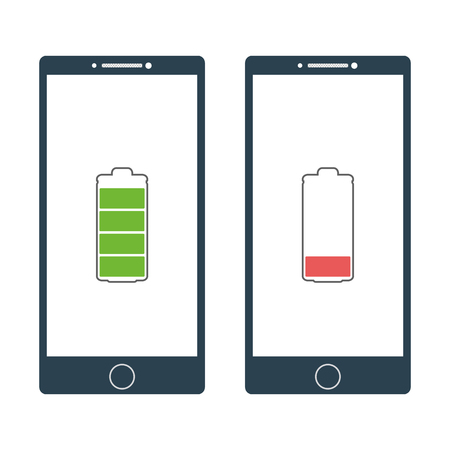 duration: Two smartphone with charged and discharged battery signs. Full battery and low battery signs. Vector illustration Illustration