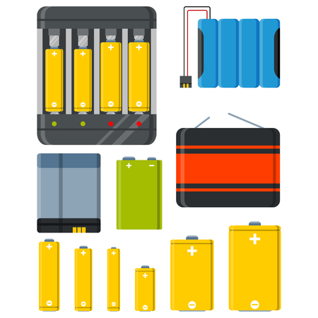lithium: Battery and accumulator colourful set isolated vector illustration Illustration