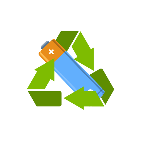 Battery AA in recycle sign. Battery recycling sign. Vector illustration.